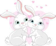 Bunnies in love. Two very cute white Bunnies in love stock illustration