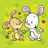 Bunnies in love Stock Image