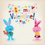 Bunnies in love Valentine's day card Stock Image
