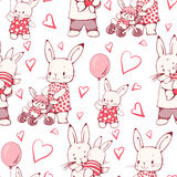 Bunnies. Seamless pattern with family funny cartoon Bunnies. Hand-drawn illustration. Vector stock illustration