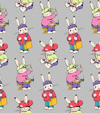 Bunnies. Seamless pattern with funny cartoon Bunnies artists. Hand-drawn illustration. Vector stock illustration