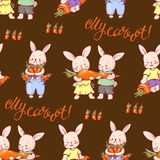Bunnies. Seamless pattern with funny cartoon Bunnies with carrots. Hand-drawn illustration. Vector Stock Photos