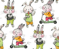 Bunnies. Seamless pattern with funny cartoon Bunnies. Drawing watercolor and ink. Hand-drawn illustration stock illustration