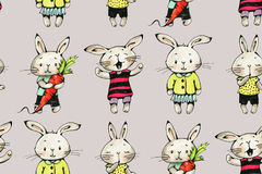 Bunnies. Seamless pattern with funny cartoon Bunnies on a gray background. Drawing watercolor and ink.  Hand-drawn illustration Royalty Free Stock Images