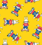 Bunnies. Seamless pattern with funny cartoon Bunnies on gyrometer. Hand-drawn illustration. Vector stock illustration