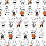Bunnies. Seamless pattern with funny cartoon Bunnies. Hand-drawn illustration. Vector Stock Image
