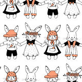 Bunnies. Seamless pattern with funny cartoon Bunnies. Hand-drawn illustration. Vector royalty free illustration