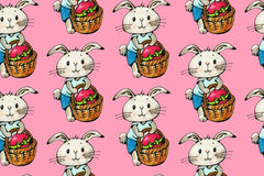 Bunnies. Seamless pattern with funny cartoon Bunnies on a pink background. Drawing watercolor and ink. Hand-drawn illustration stock illustration