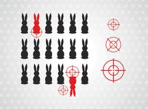 Bunnies and the targets vector illustration Royalty Free Stock Image