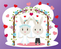 Bunnies wedding card vector Royalty Free Stock Images