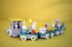 Bunnies on the Wood Train Royalty Free Stock Photo
