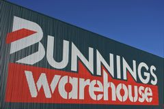 Bunnings Warehouse building against blue sky. Bunnings Warehouse.Bunnings has a market share of around 20 percent in the Australian retail hardware sector with royalty free stock photography