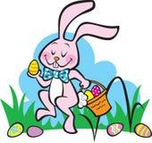 bunny έρχεται Πάσχα εδώ απεικόνιση αποθεμάτων