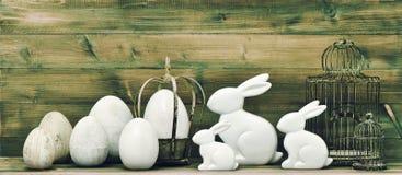 bunny αυγά Πάσχας αναδρομική διακόσμηση Πάσχας ύφους Στοκ Εικόνα