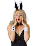 bunny εκφοβισμένο κοστούμι λευκό κοριτσιών στοκ φωτογραφία