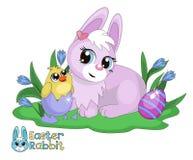 Bunny και νεοσσός Πάσχας Στοκ Φωτογραφίες