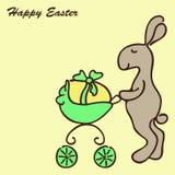 bunny καροτσάκι Πάσχας Στοκ Εικόνες