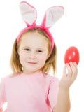 bunny κορίτσι αυγών αυτιών λίγο ροζ Στοκ εικόνες με δικαίωμα ελεύθερης χρήσης