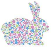 Bunny κουνέλι στα σημεία Πόλκα κρητιδογραφιών διανυσματική απεικόνιση