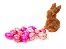 bunny ροζ αυγών Πάσχας Στοκ Φωτογραφία