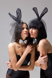 bunny τοποθέτηση κοριτσιών πρ&omicr Στοκ Εικόνες