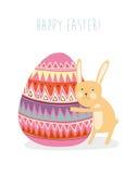 bunny το αυγό Πάσχας καρτών ταιριάζει καλά Στοκ εικόνα με δικαίωμα ελεύθερης χρήσης