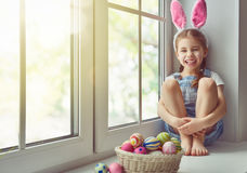 bunny φθορά κοριτσιών αυτιών Στοκ εικόνα με δικαίωμα ελεύθερης χρήσης