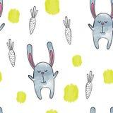 bunny χαριτωμένο Διανυσματικό άνευ ραφής σχέδιο Watercolor Στοκ Φωτογραφίες
