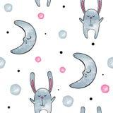 bunny χαριτωμένο Διανυσματικό άνευ ραφής σχέδιο Watercolor Στοκ Εικόνες