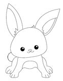 Bunny. Cute rabbit line art isolated on white background. Specially for kids coloring book graphics Stock Photo