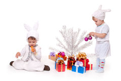 Bunny. Two new year rabbit boy with gifts Royalty Free Stock Photos