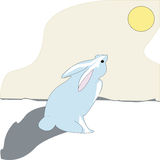 Bunny. Blue bunny watches the sunset-eps file available Royalty Free Stock Photography