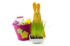 Bunny. Easter colored chickens, bunny, isolated, positive, toy Stock Photo