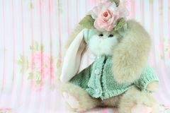 Bunny. A horizontal picture of a stuffed toy bunny in Spring colors Royalty Free Stock Image