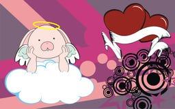 Bunny angel cherub baby cartoon cloud background Royalty Free Stock Photography