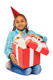 Bunny as birthday present for girl Royalty Free Stock Images