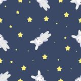 Bunny-astronaut in open space Stock Image