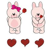 Bunny baby cartoon valentine rose set Royalty Free Stock Photo