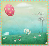 Bunny and ball. Greeting card or poster Happy Easter. Computer graphics Royalty Free Stock Image