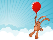 Bunny with balloon background. Bunny flying with balloon background vector illustration
