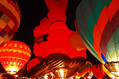 Bunny Balloon at the Glow. Balloon glow at The Great Forest Park Balloon race in St. Louis Stock Photography