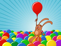 Bunny with balloons background. Bunny flying with balloons background stock illustration