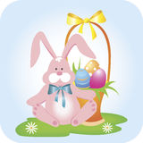 Bunny with a basket stock illustration