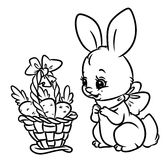 Bunny basket carrots coloring pages Royalty Free Stock Image