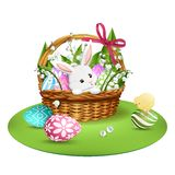 Adorable bunny in wicker basket with colorful eggs. Vector stock illustration