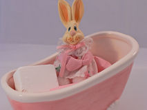 Bunny in a Bathtub. Let's take a bath stock photos