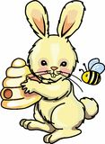 BUNNY WITH BEE AND HIVE  Stock Photo