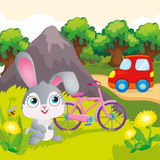 Bunny With Bicycle Near Mountain Illustrazione Vettoriale