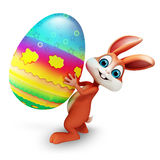 Bunny with big colorful egg Royalty Free Stock Images