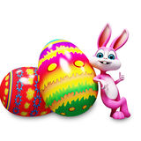 Bunny is with big colorful eggs. 3d rendered illustration of Bunny is with big colorful eggs Stock Photography